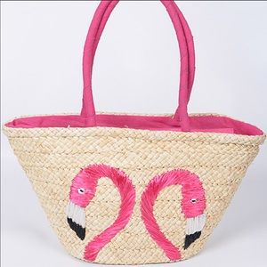 Straw Tote Purse With Two Flamingos